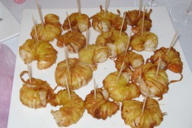 Garnelen im Kartoffelspaghetti-Mantel